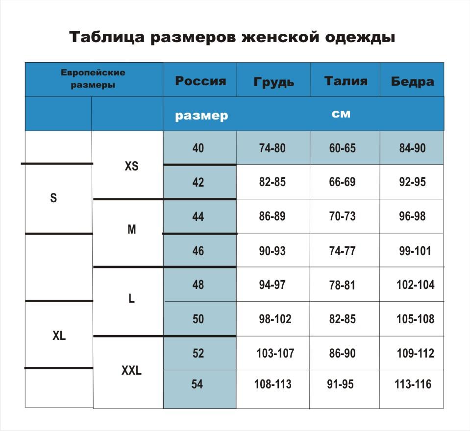 таблица размеров 1